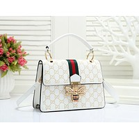 GUCCI Women Fashion New More Letter Leather Shopping Leisure Shoulder Bag White