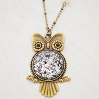 owl necklace, animal jewelry, best friend necklace, Stocking Stuffer, owl charm necklace, full moon necklace, owl jewelry, bird jewelry