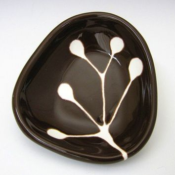 small ceramic dish - berry branch in dark chocolate brown