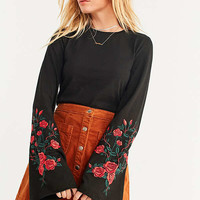 UO Embroidered Floral Bell-Sleeve Top | Urban Outfitters