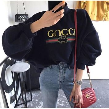 GUCCI Fashion Casual Print High-Necked Top Sweater Pullover