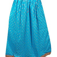 Mogul Womans Festive Skirt Printed Runway Specific Blue Boho Hippie Long Skirts