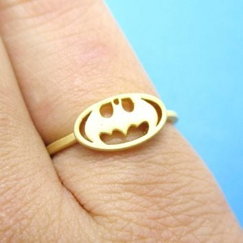 Batman Logo Bat Silhouette Shaped Adjustable Ring in Gold