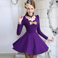 Purple Wool-blend A-line Dress