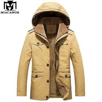Plus Size 5XL 100% Cotton Winter Jackets Men Military Jacket Thick Warm Men Parkas Hooded Windproof Men Coat MJ387