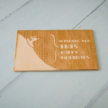 Laser Engraved Christmas Card - Sledding Fun