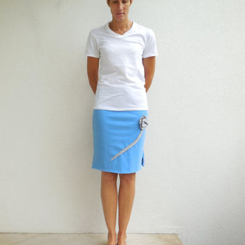 Women's T Shirt Skirt Recycled Tshirt Skirt Blue Gray Upcycled Knee Length Handmade Cotton Soft Fun Fashion For Her Spring ohzie