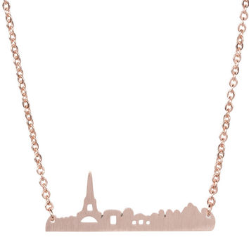 Paris City Skyline Necklace - Gold, Rose Gold & Silver