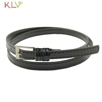 KLV Coolbeenr belts for women belt Hot Beautiful Woman Multicolor Small Candy Color Thin Leather Belt Dec9
