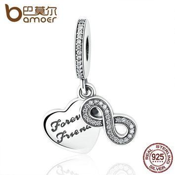 925 Sterling Silver Forever Friends Clear CZ Heart & Bow Knot Pendant Fit Charm Bracelets Women Fashion Jewelry PAS375