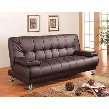 Comfy Faux Leather Convertible Sofa Bed with Removable Armrests, Brown