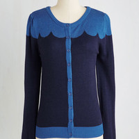 Mid-length Long Sleeve Paris Cafe Cardigan in Evening by ModCloth from ModCloth