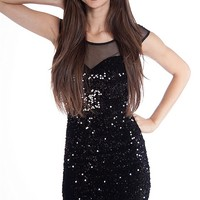 Easel Sequined Sheer Collar T-Back Mini Dress - Black