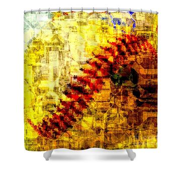 Baseball Impression Shower Curtain