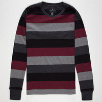 Shouthouse Four Stripe Mens Thermal Burgundy  In Sizes