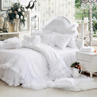 Luxury white falbala ruffle lace bedding set, twin queen king size bedding for girl, princess duvet cover set bedspread bedskirt