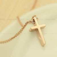 Golden Jesus Christ Cross Necklace Clavicle Chain from LOOBACK FASHION STORE