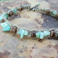 Hemp Anklet, Genuine Amazonite, Beach Jewelry, Adjustable Anklet, Gift for Her, Festival Jewelry, Summer Anklet, Gemstones, Good Vibes, Gift