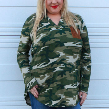 Keep Coming Back Camouflage Tunic With Suede Pocket ~ Olive ~ Sizes 12-18