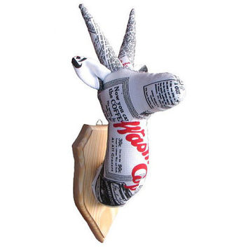 Antelope — textile trophy, trophy head with wooden wall plaque, cotton, medallion, handmade, newspaper, taxidermy, OOAK