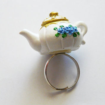 Teapot Ring Kawaii Alice in Wonderland Sweets Miniature Food Clay Charm Jewellery Lolita Accessory