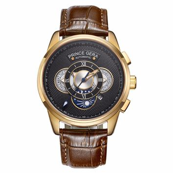 PRINCE GERA Gold Men's Waterproof Mechanical Automatic Casual Wrist Watches Leather Straps Calendar Moon Phase Watch For Men