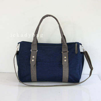 SALE Messenger Bag / Diaper Bag / Tote in Navy blue & Gray Water-resistant Nylon / Duffle, Gym, Travel, Handbag, Shoulder bag, unisex, men