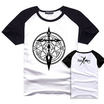 Top Anime Fate/stay night T Shirt Short Sleeve Unisex T-shirt Cosplay Cartoon Clothes Men Cotton Casual Costume O-Neck