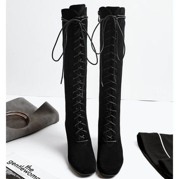 Women High Boots Sexy Fashion Boots Lace Up High Heels Woman Shoes Coarse Heels Black