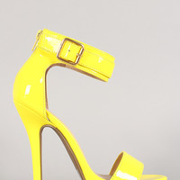 Wild Diva Patent Ankle Cuff Buckle Open Toe Heel