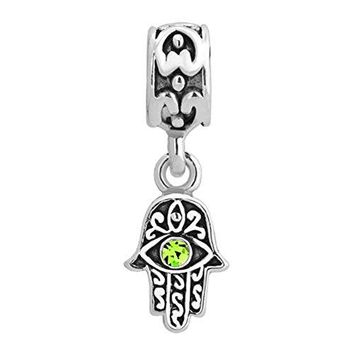 DemiJewelry Evil Eye Charms Islamic Hand of Hamsa Dangle Charm Beads Fit Bracelets Charms