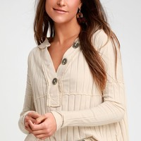 In The Mix Ivory Ribbed Long Sleeve Top