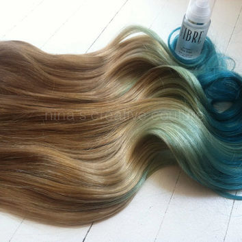 "Mermaid Hair, Ombre Hair Extensions, Dark Blonde Ombre Hair, Pastel Blue faded into Ocean Blue, 7 Pieces,16""/Customize your Base"