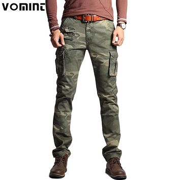 New Men Fashion Military Cargo Army Pants Slim Straight Fit Cotton Multi Color Camouflage Green Yellow