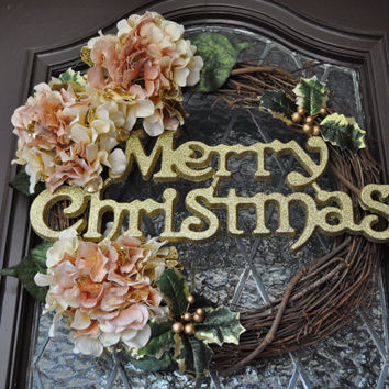 Christmas Wreath, Holiday Wreath, Chic, Victorian, Gold and pink