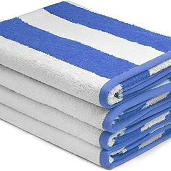 4 pack,Cabana Stripe Large Beach Towel, Pool Towel, - (Blue, 30x60 inches) - Cotton
