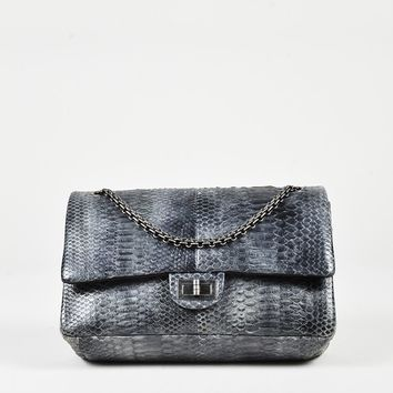 "Chanel Grey Genuine Python ""226 Reissue 2.55"" Chain Link Shoulder Bag"