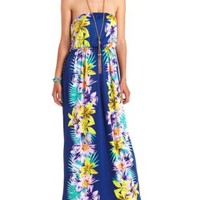 Hawaiian Print Strapless Maxi Dress by Charlotte Russe - Blue Combo
