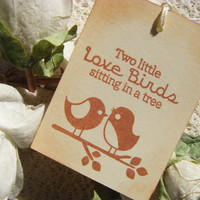 Wedding Wish Tree Tags - Vintage Inspired - Two Little Love Birds Sitting in a Tree  - Rustic - Set of 10