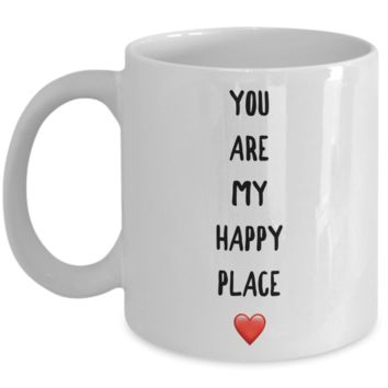 Sweet Valentines Day Mug Gift for Wife You Are My Happy Place Coffee Cup