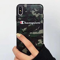 Champion Fashion New Letter Print Camouflage Women Men IPhone Protective Cover Phone Case Army Green