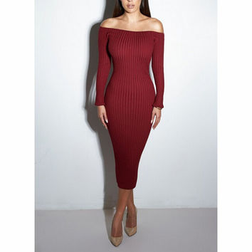 Sexy dew shoulder high waist dress