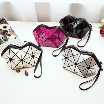 New Design PU Leather Diamond Plaid Handbag Geometric Mosaic Day Clutch Luxury Ladies Purse  Bags Women Wristlets Hand Bag 30