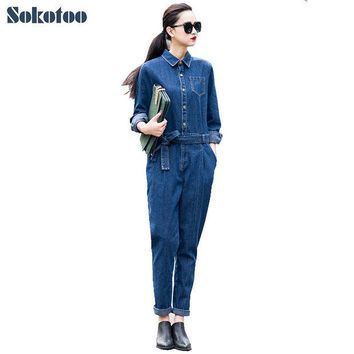 DCCKL3Z Sokotoo Women's full sleeve casual loose denim jumpsuits Lady's fashion blue overalls with sashes Free shipping