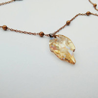 Golden Crystal Leaf Necklace, Swarovski Crystal Pendant - Leaf pendant necklace