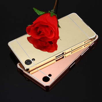 Gold Plated Metal Mirror Aluminum Frame Phone Case For Sony Xperia Z3 Compact X XA Z5 Compact Z5 Premium Z3 Z2 Z1 PC Back Cover