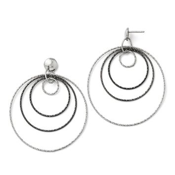 Two-Tone Diamond-cut Multi Circle Dangle Earrings in Sterling Silver