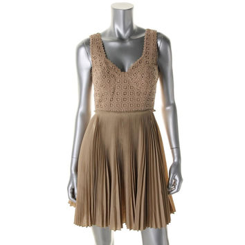 Catherine Malandrino Womens Crochet Trim Pleated Cocktail Dress