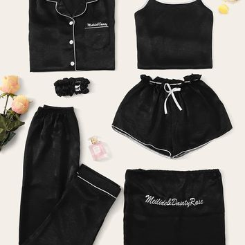 7pcs Letter Embroidered Cami PJ Set With Shirt