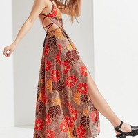 UO Gia Lace-Up Maxi Dress | Urban Outfitters
